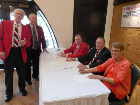 From the left, LSHOF Committee members Ted Driscol, Dave Simpson, Craig Snodgrass, Bill Stough and his wife