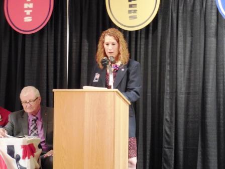 Holly Koepp speaks after being enshrined 5.12.16