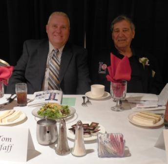 Tom Pfaff, left, and Frank Graziano, 2015 LSHOF inductee, both representing deceased 2016 inductee William (Pete) Smith