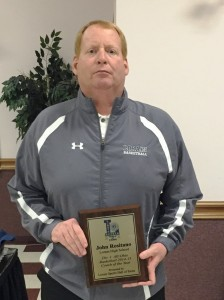 Lorain High Titans basketball coach John Rositano was honored with a plaque from the Lorain Sports Hall of Fame for being named Division 1, All-Ohio Basketball 2014-15 Coach of the Year. The presentation was made at the Titans banquet by Lorain Athletic Director Bryan Koury who is a LSHOF Committee member.
