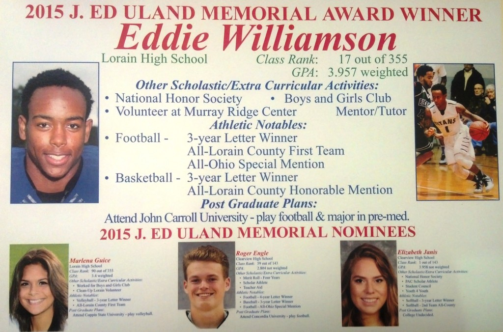 2015 finalists for the J. Ed Uland Award and winner Eddie Williamson
