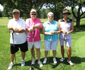 Pat McGill, left, Rose Nowak, Sandi McCarthy and Judy Kubasak together made up one of the more than 30 teams of golfers whose participation made the 2015 Lorain Sports Hall of Fame Golf Outing a success.