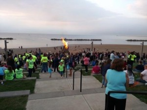 The bonfire blazes on Lakeview Beach at the 2015 Lorain Schools Homecoming Bonfire held on Oct. 8.