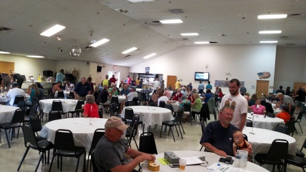 A nice crowd enjoyed the Lorain Sports Hall of Fame Steak Fry fundraiser on Sunday, June 5, at the Amherst Eagles Hall. Proceeds from the event will help establish the new LSHOF museum at the new Lorain High School. (LSHOF photo by Tom Skoch)