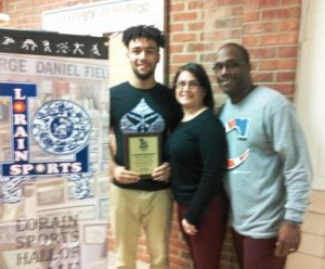 Clearview High School athlete Antonio Bennett is pictured with his parents after receiving a plaque from the Lorain Sports Hall of Fame for being 2016 All-Ohio 1st Team Baseball. Congratulations to Antonio and his parents!